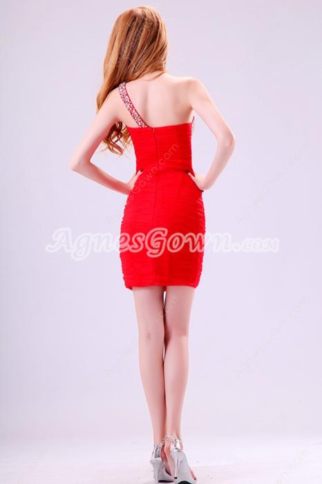 Hot One Shoulder Sheath Mini Length Red Chiffon Nighclub Dress