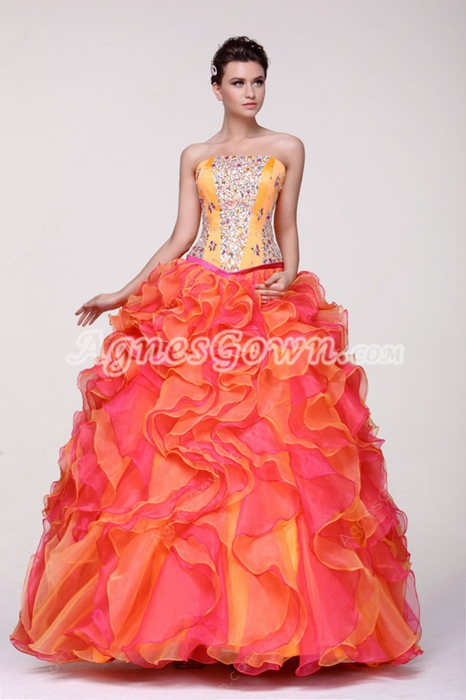 Pretty Strapless Multi Colored Rainbow Sweet 15 Dress