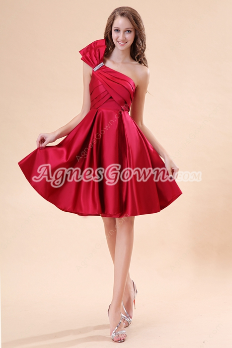 One Shoulder Knee Length Red Prom Dress For Juniors