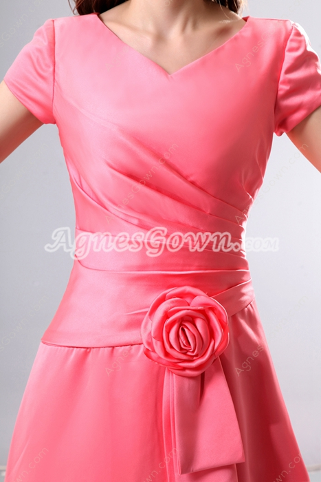 Short Sleeves Watermelon Satin Bridesmaid Dress