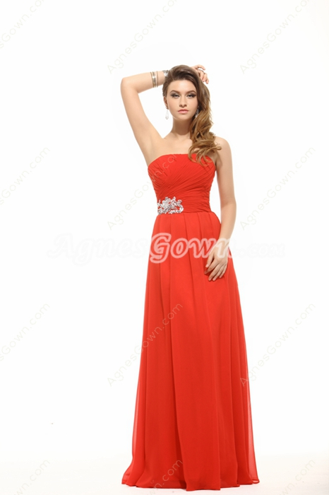 Modest Strapless Red Chiffon Plus Size Bridesmaid Dress
