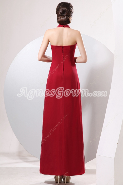 Charming Halter Ankle Length Dark Red Chiffon Mother Of The Bride Dress
