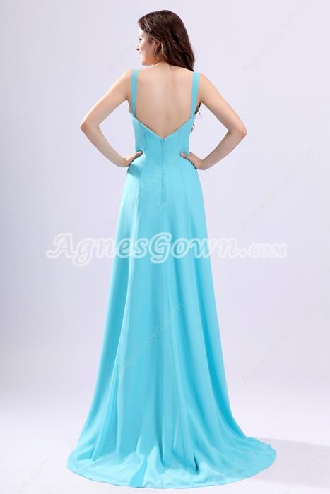 Trendy A-line Blue Chiffon Evening Dress