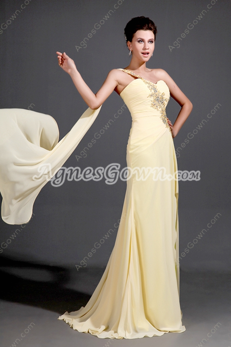 Elegant One Shoulder Column Full Length Yellow Evening Dress With Ribbons