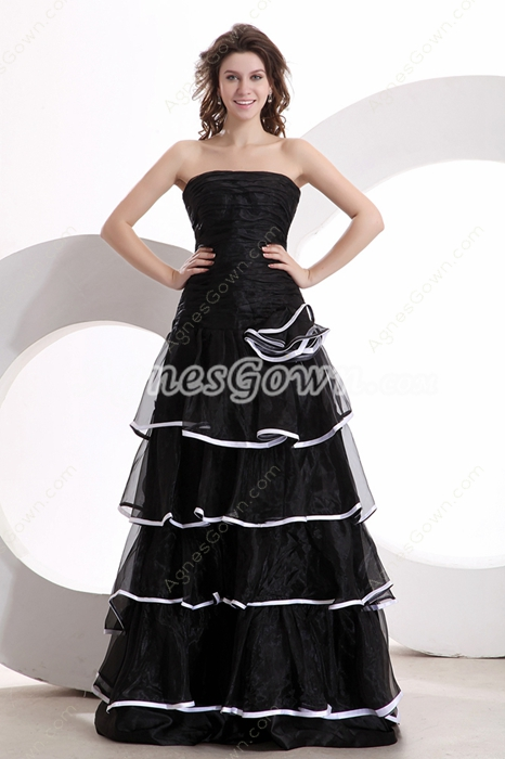 Strapless A-line Puffy Floor Length Black Organza Quinceanera Dress With Tiered