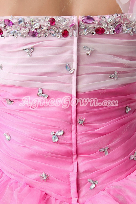 Impressive One Shoulder Ball Gown White & Pink Colorful Quinceanera Dress