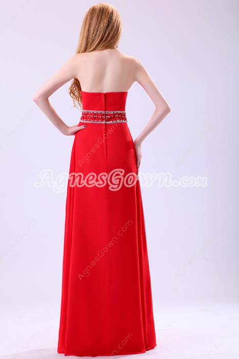 Grecian Strapless Red Chiffon Formal Evening Dress With Rhinestons