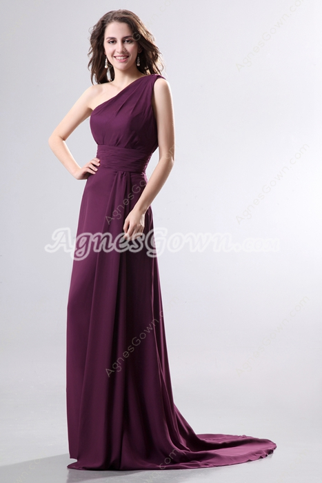 Graceful One Shoulder Grapde Chiffon Formal Evening Dress