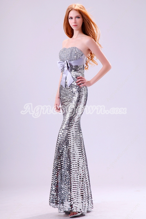 Glamour Sheath Full Length Silver Sequined Prom Dress With Great Handwork