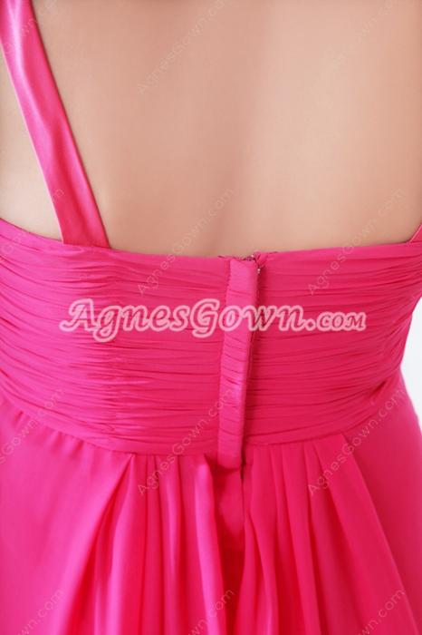 Pretty Straps A-line Full Length Fuchsia Junior Prom Dress