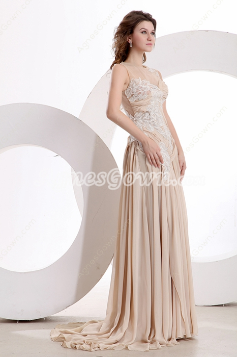 Grecian Jewel Neckline A-line Full Length Champagne Formal Evening Dress