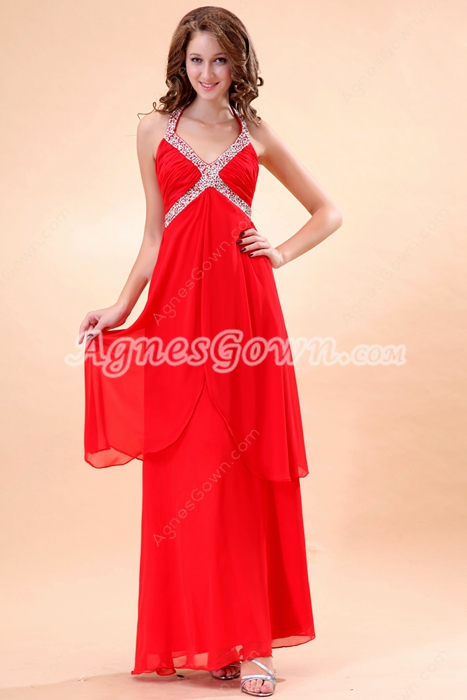 Top Halter Ankle Length Red Chiffon Formal Evening Dress