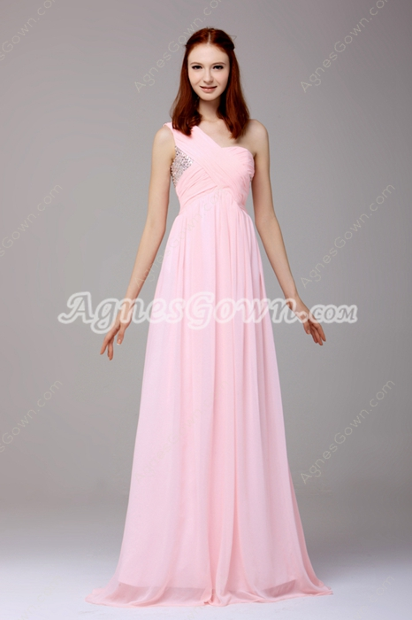 Noble One Shoulder A-line Full Length Pink Chiffon Prom Dress With Beads