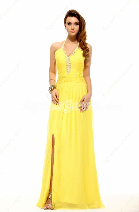 Chic Halter Yellow Chiffon Evening Dress Front Slit