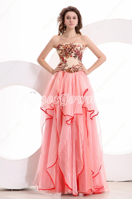 Pretty Strapless Column Full Length Coral Multi Colored Prom Dress
