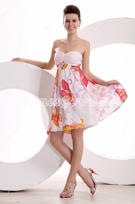 Casual Sweetheart Empire Mini Length Printed Cocktail Dress