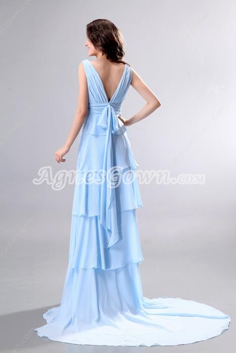 Dazzling Plunge Neckline Full Length Sky Blue Prom Party Dress V-Back