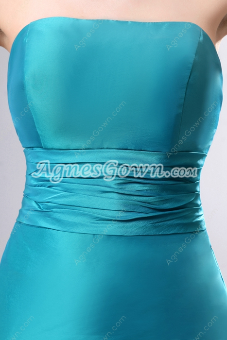 Charming Strapless Trumpet/Mermaid Teal Satin Formal Evening Gown