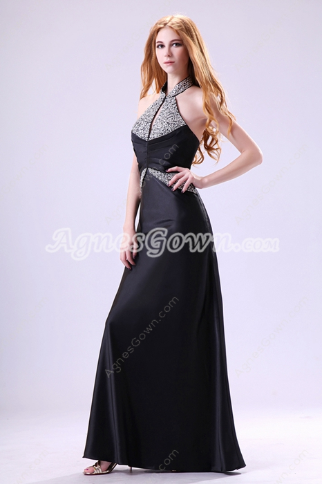 Newest Top Halter A-line Black Satin Mother Of The Bride Dress Keyhole Bust
