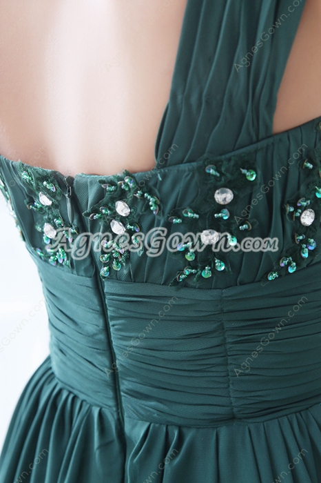 Special One Straps A-line Dark Green Chiffon Prom Dress With Handmade Flowers