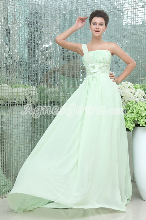 Magnificent One Shoulder Sage Chiffon Prom Party Dress