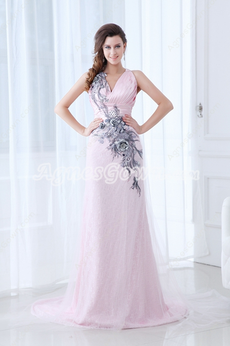 Showy V-Neckline Full Length Pearl Pink Prom Dress With Black Appliques