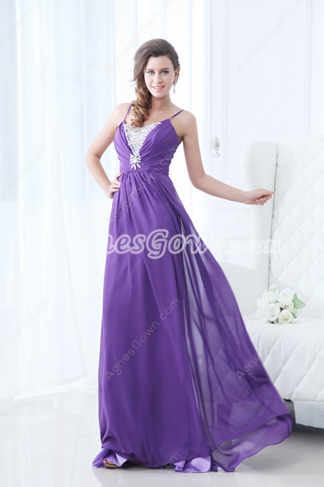 Beautiful Spaghetti Straps Violet Chiffon Formal Evening Dress With Diamonds