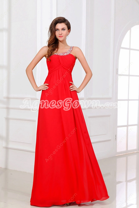 Fancy One Shoulder A-line Red Chiffon Evening Dress Keyhole Back