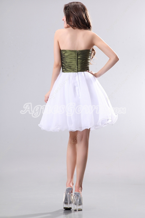 Strapless Puffy Mini Length Organza White & Green Damas Dress