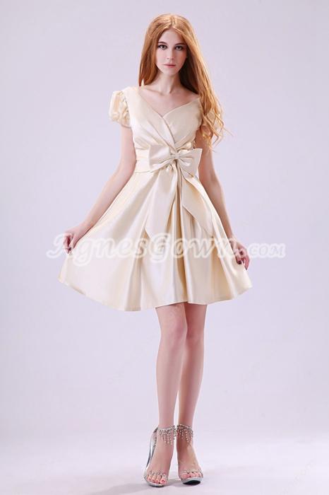 V-Neckline Cap Sleeves Mini Length Champagne Satin Wedding Guest Dress