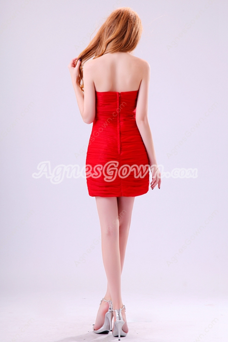 Trendy Strapless Sheath Mini Length Red Cocktail Dress With Diamonds