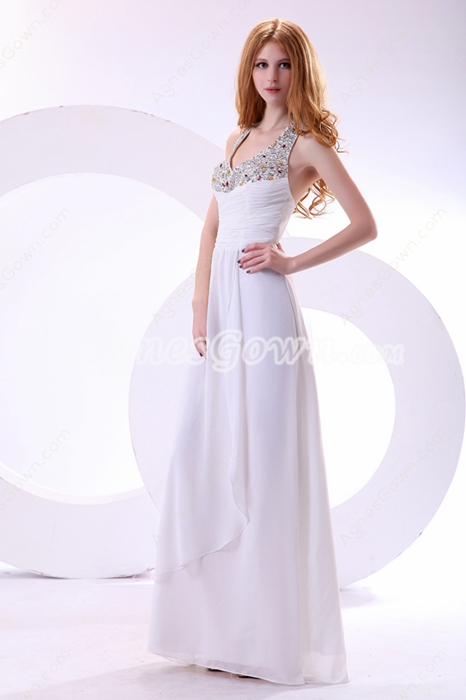 Fantastic Halter A-line White Chiffon Prom Dress With Exquisite Beads
