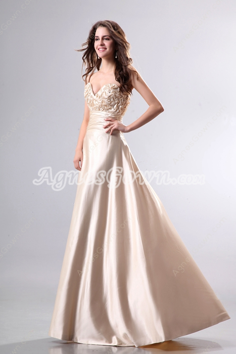 Ruched Bust A-line Champagne Prom Dress With Beads