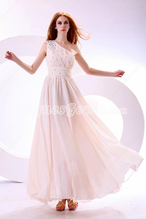 Shimmering One Shoulder Ankle Length Light Champagne Junior Prom Dress