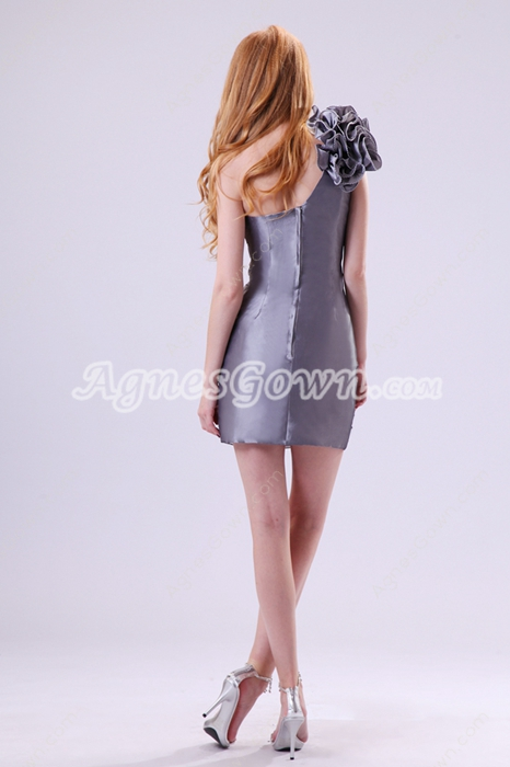 Exquisite One Shoulder Sheath Mini Length Silver Grey Wedding Guest Dress