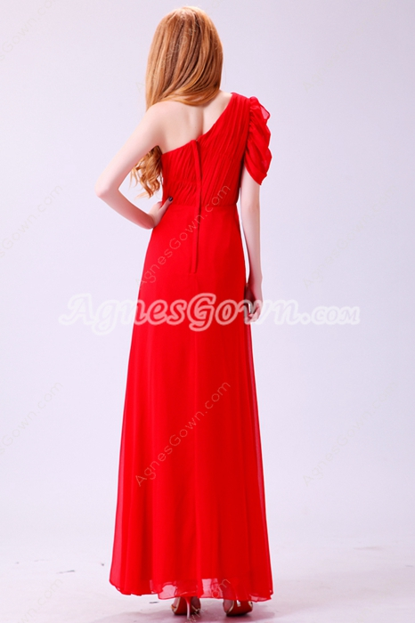 Inexpensive One Shoulder Short Sleeves Red Chiffon Formal Evening Dress