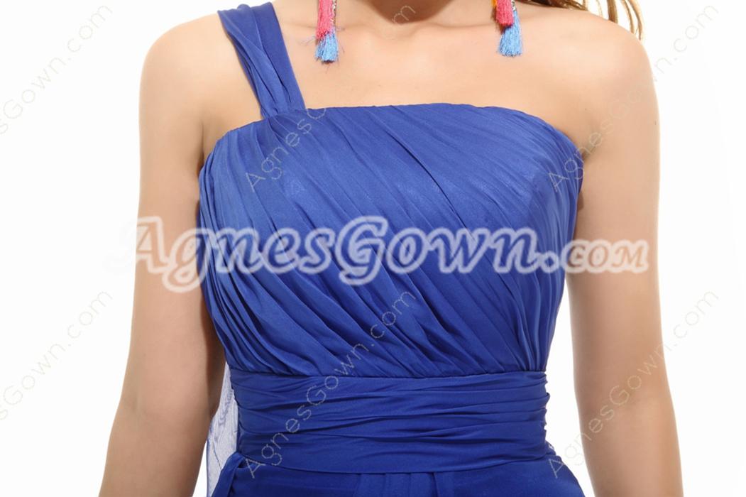 Affordable One Shoulder Royal Blue College Graduation Dress
