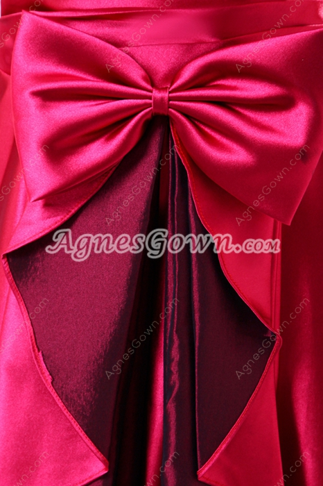 Delish One Shoulder Ankle Length Red Prom Dress With Frills