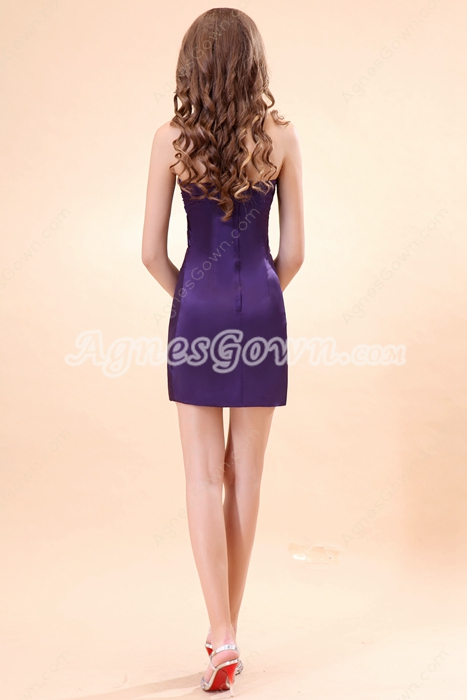 Hot Sheath Mini Length Purple Nightclub Dress With Crystals