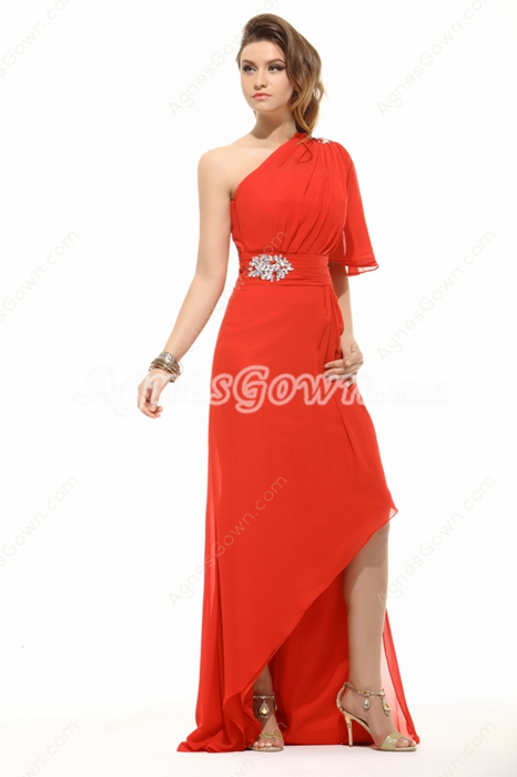Chic One Shoulder Short Sleeves High Low Graduation Dress