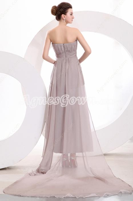 Plunge Neckline Tea Length Silver Gray Informal Evening Dress Front Slit