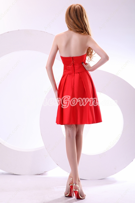 Mini Length Red Satin Junior Graduation Dress