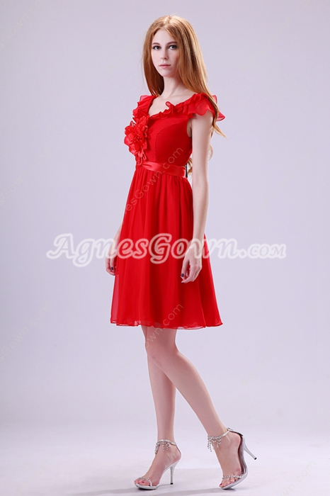 Qualified V-Neckline Mini Length Red Chiffon Junior Prom Dress
