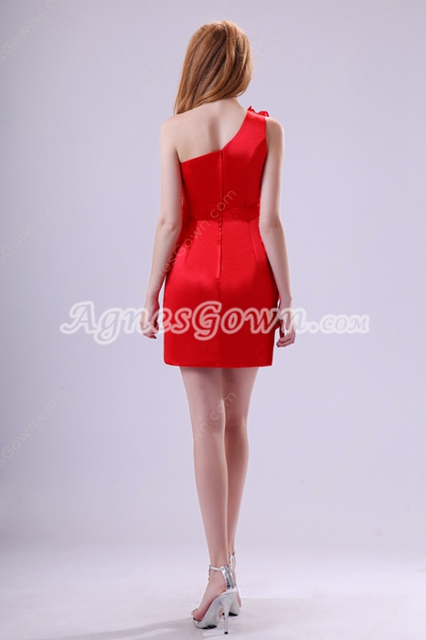Newest One Shoulder A-line Red Wedding Guest Dress With Ruffles