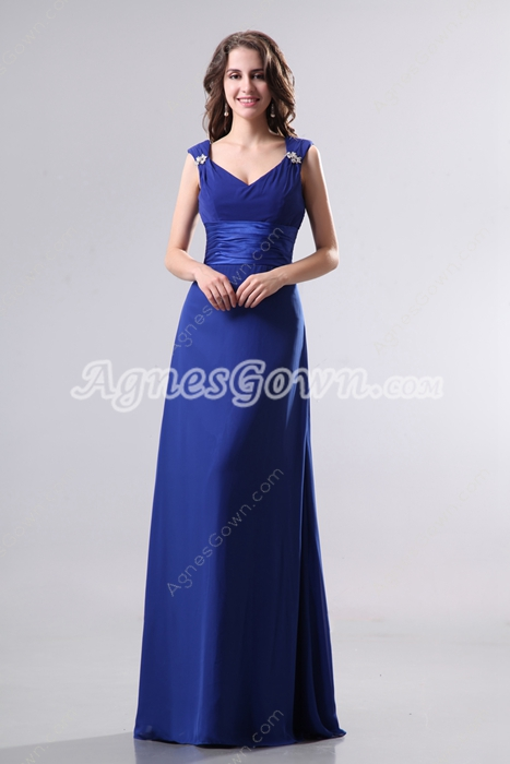 Affordable V-Neckline Royal Blue Chiffon Bridesmaid Dress With Belt
