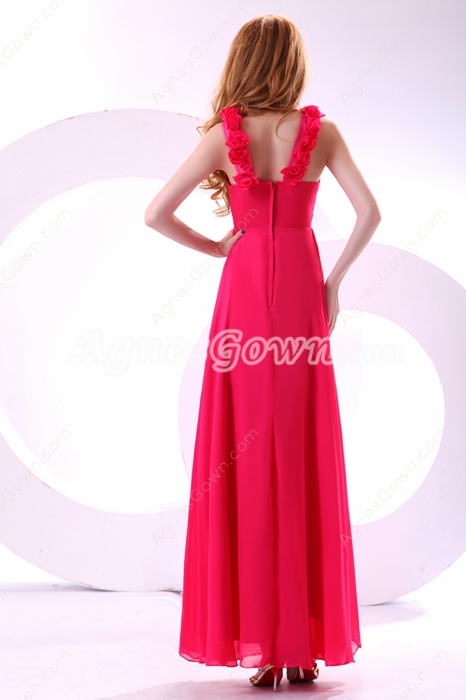 Adorable Straps Ankle Length Hot Pink Prom Dress With Ruffles
