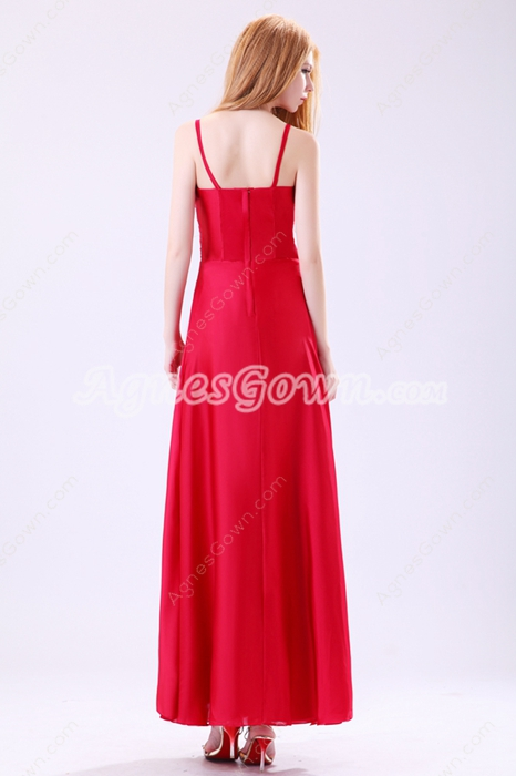 Wonderful Spaghetti Straps Ankle Length Red Junior Prom Dress
