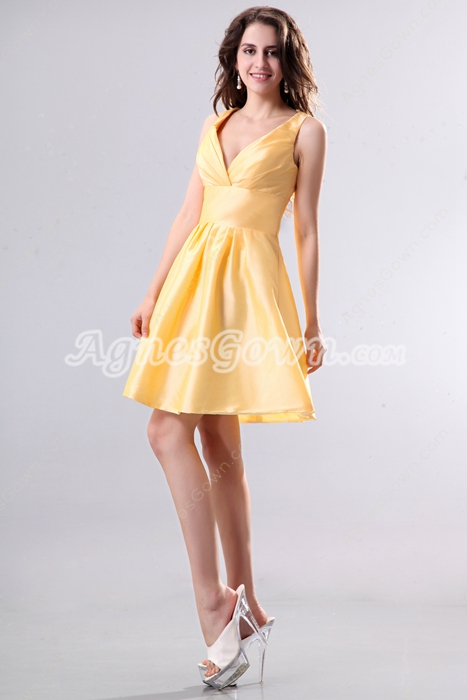 Deep V-neckline Mini Length Gold Taffeta High School Graduation