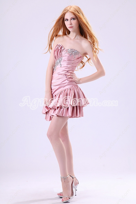 Fitted Sweetheart A-line Mini Length Dusty Rose Homecoming Dress Asymmetrical Waist