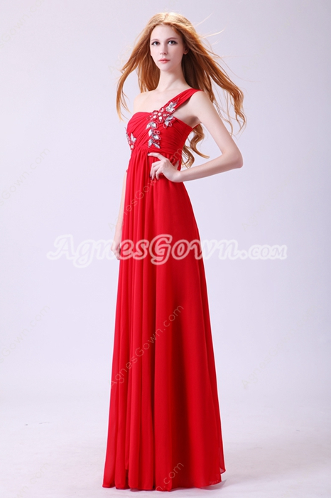 Form-fitting Asymmetrical Straps A-line Red Chiffon College Graduation Dress